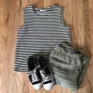 Madewell Stripped Black & White Ridgestripe Top